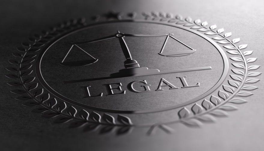 Legal sign design with scales of justice symbol printed on black background. 3D illustration