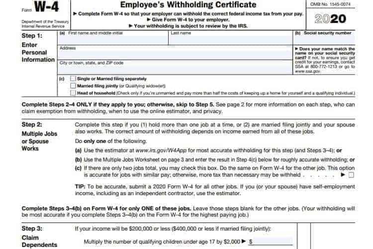 new w4 2020 January HR Bulletin